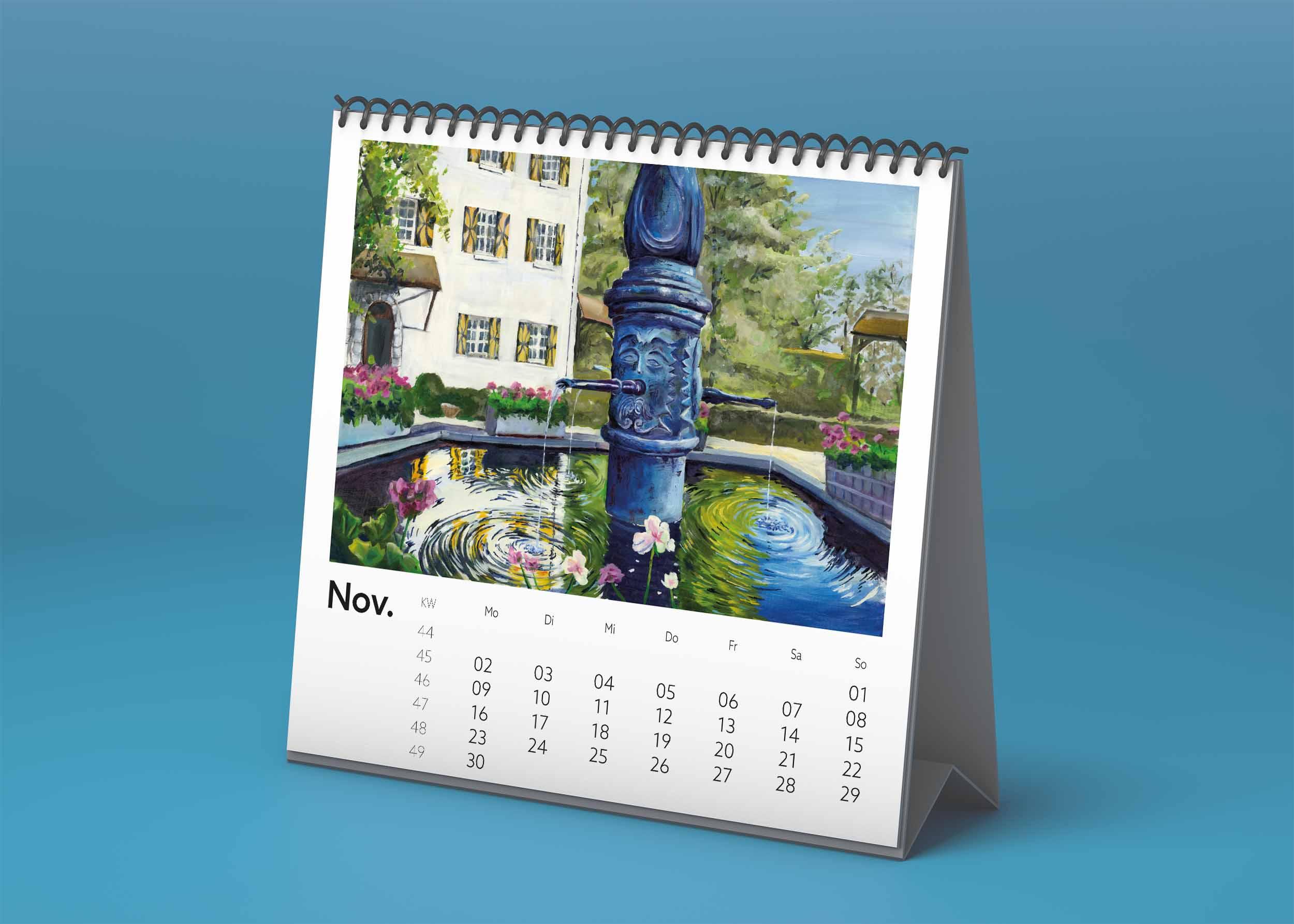 Tischkalender mit Brunnen