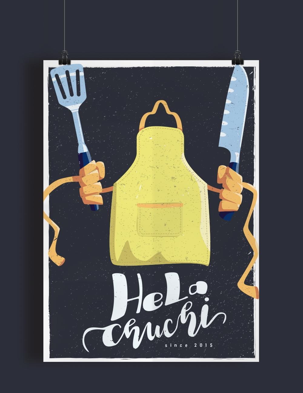 Illustration Kochschürze hält Besteck in den Händen