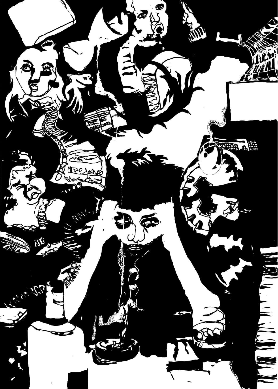 illustration stressige situation schwarz weiss siebruck