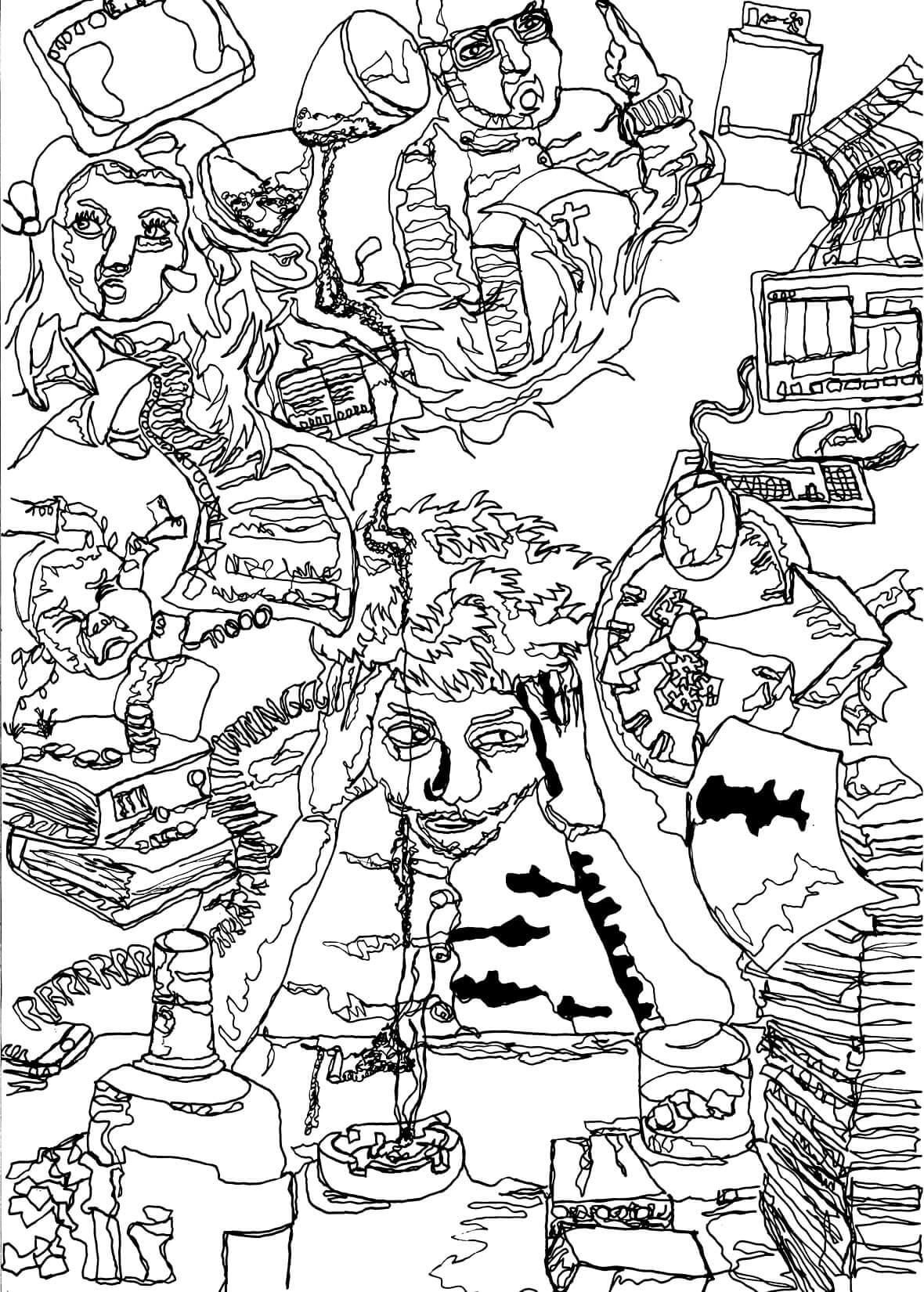 illustration stressige situation schwarz weiss linear