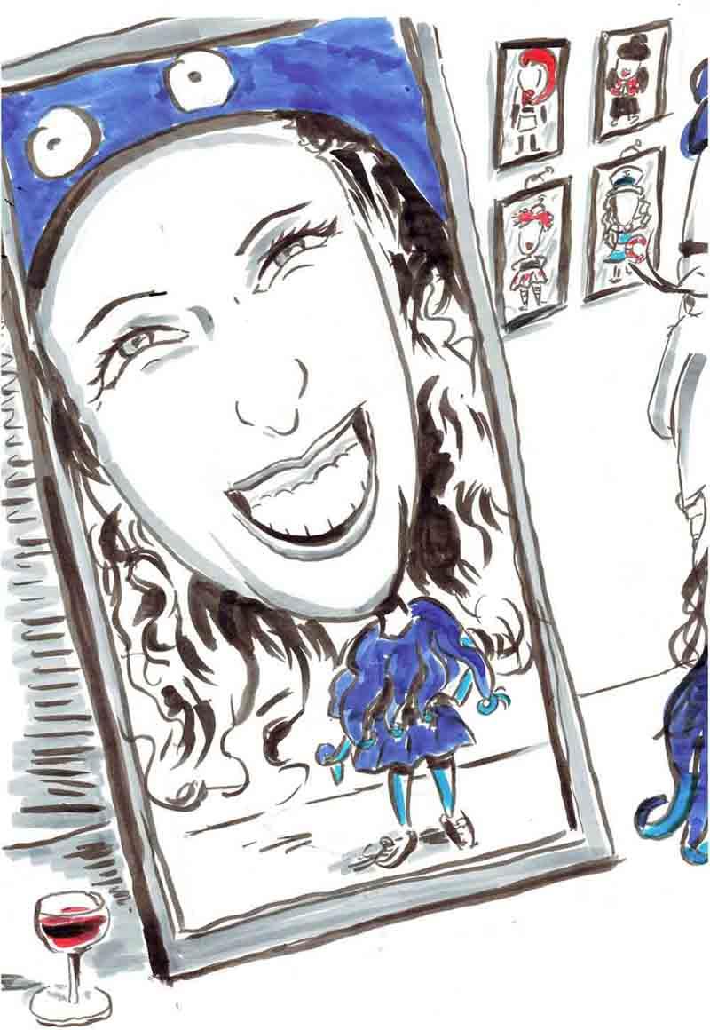 Karikatur Frau steht verkleidet vor Spiegel