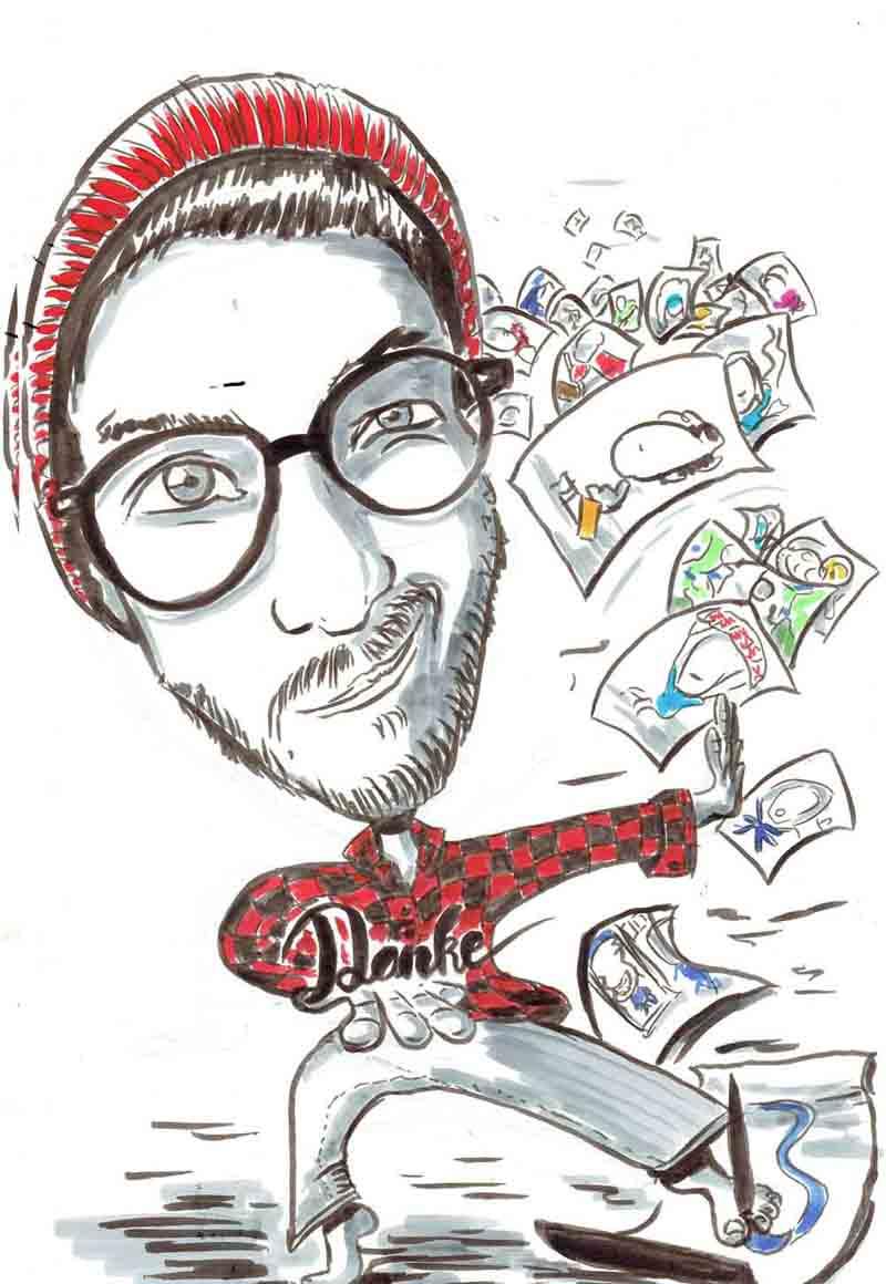 Karikatur Mann zeichnet mit seinen Füssen auf Blatt
