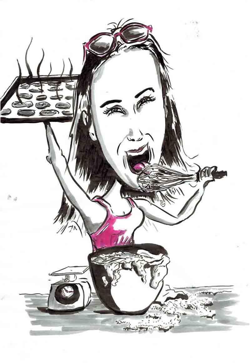 Karikatur Frau bäckt und schleckt Rührbesen ab