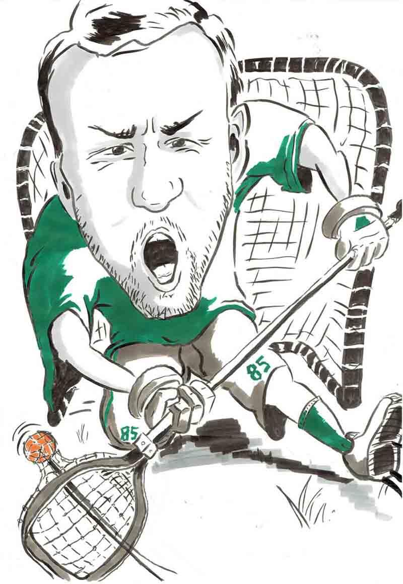Karikatur Lacrosse Torwart fängt Ball
