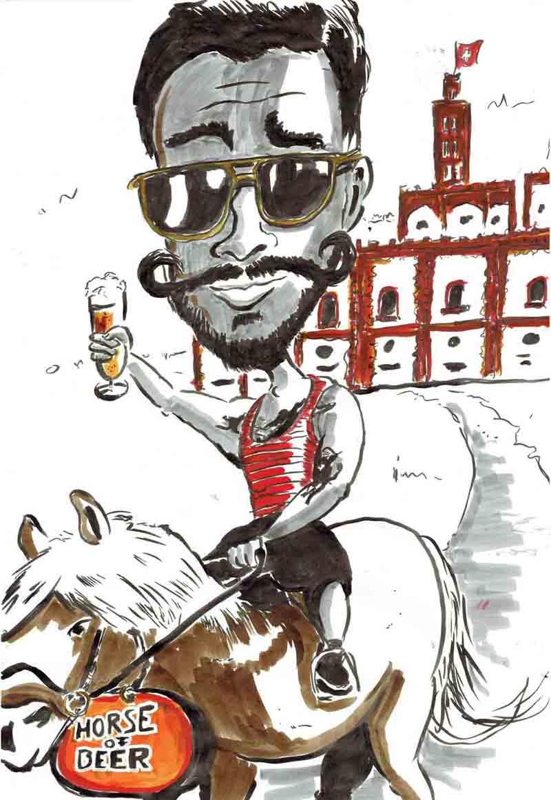 Karikatur Mann sitzt auf Pferd vor der Feldschlösschen Brauerei