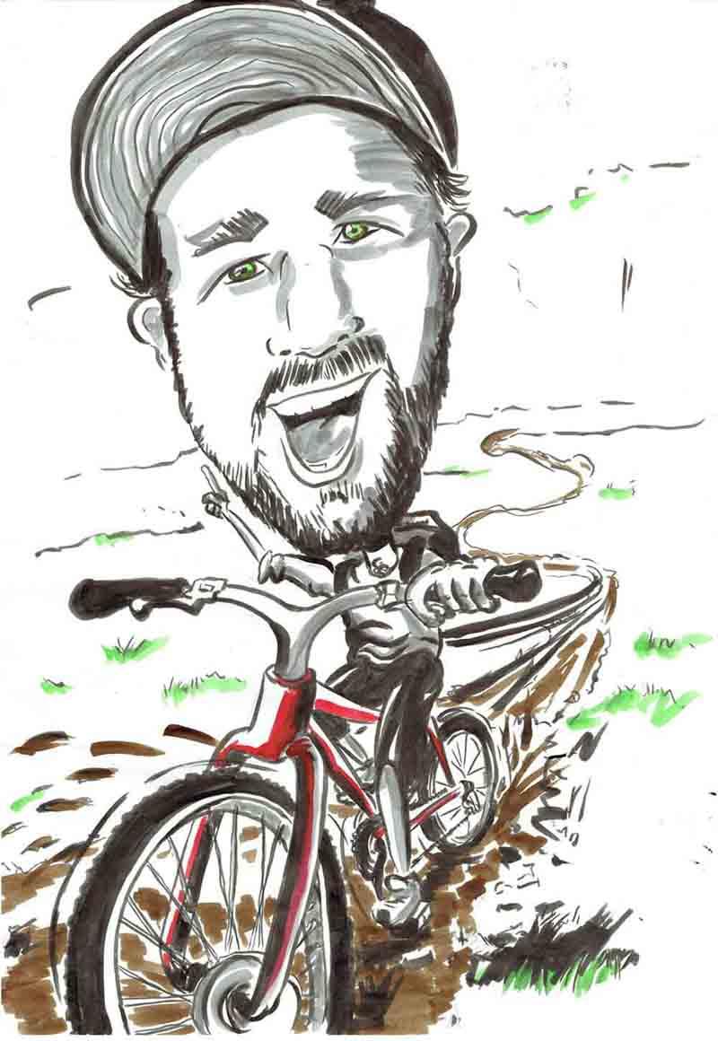 Karikatur Mann fährt mit dem Fahrrad Bike einen Trail hinunter