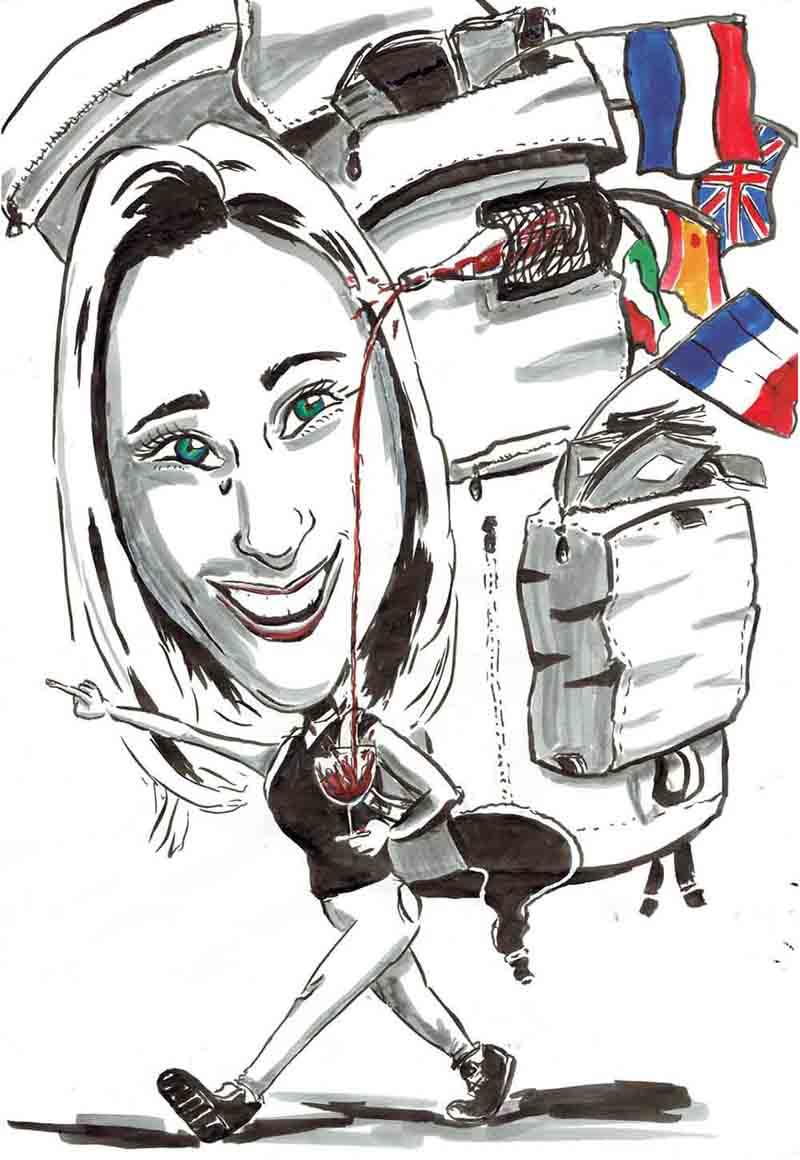 Karikatur Frau wandert mit riesigem Rucksack und geht auf reisen