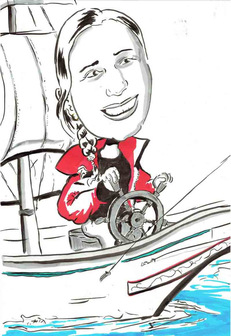 Karikatur Frau fährt Schiff in Roter Jacke