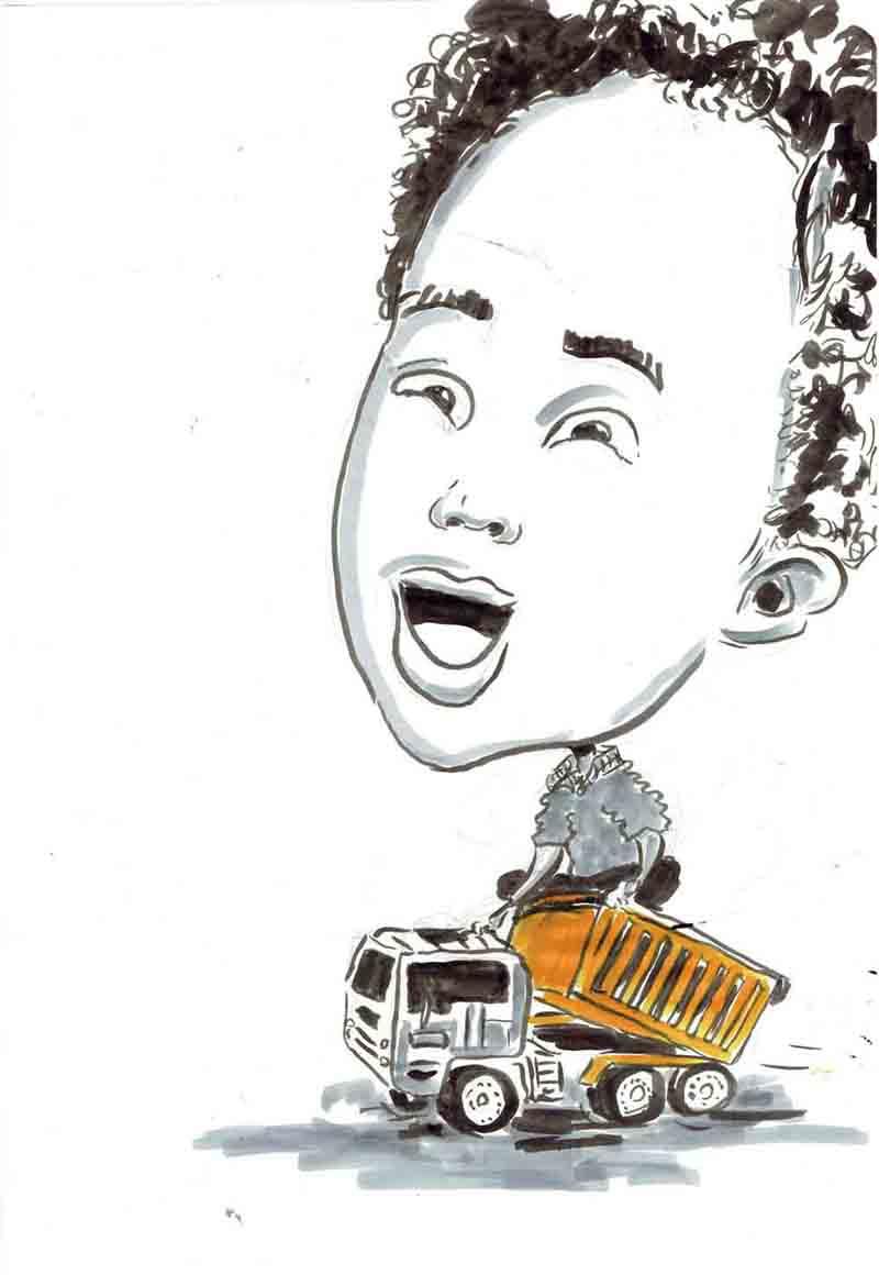 Karikatur Kind fährt auf spielzeuglastwagen