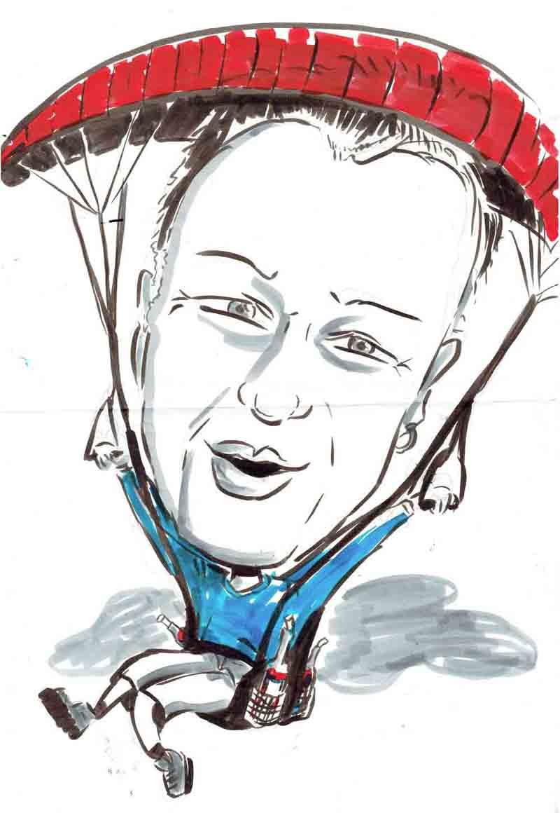 Karikatur Mann fliegt mit einem Gleitschirm und hat Wein dabei