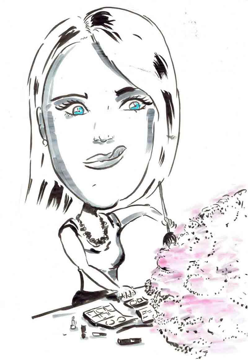 Karikatur Frau schminkt person mit extrem viel Puder