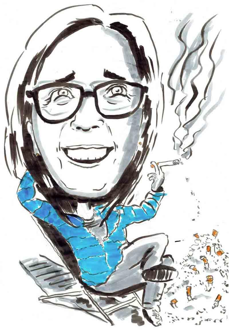 Karikatur Frau raucht Zigaretten und hat einen ganzen Berg Asche neben sich