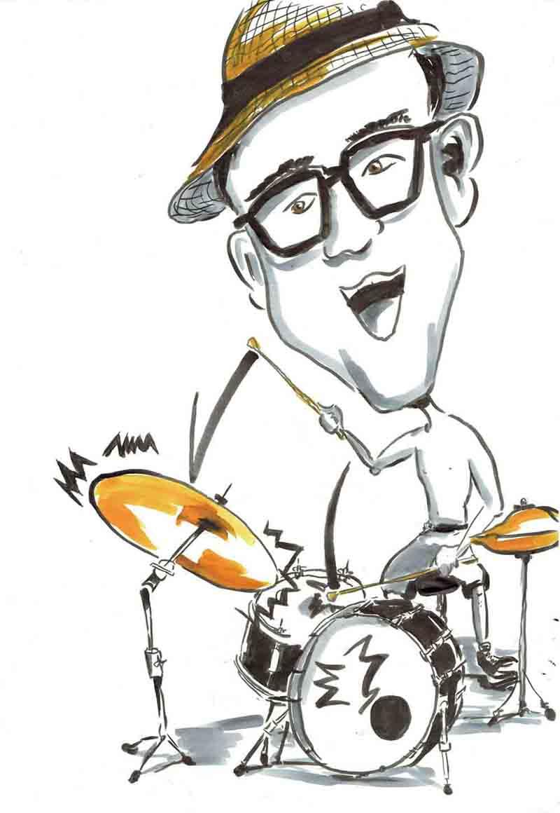 Karikatur Mann spielt Schlagzeug oben ohne