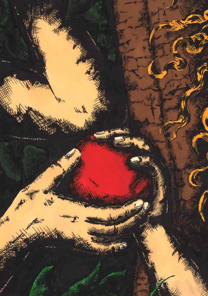 illustration Adam und Eva übergeben sich Apfel