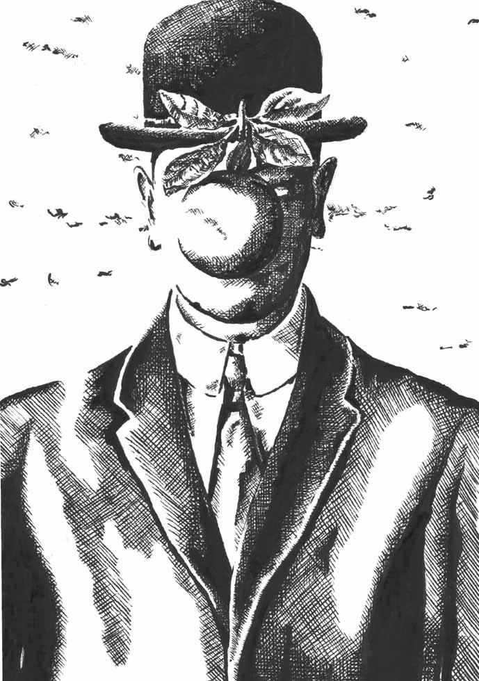 Illustration Rene Magritte mit Apfel