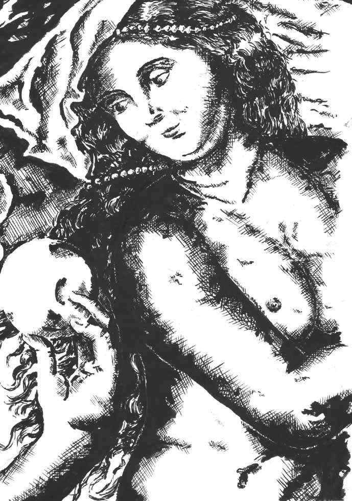 Illustration Aphrodite und goldener Apfel