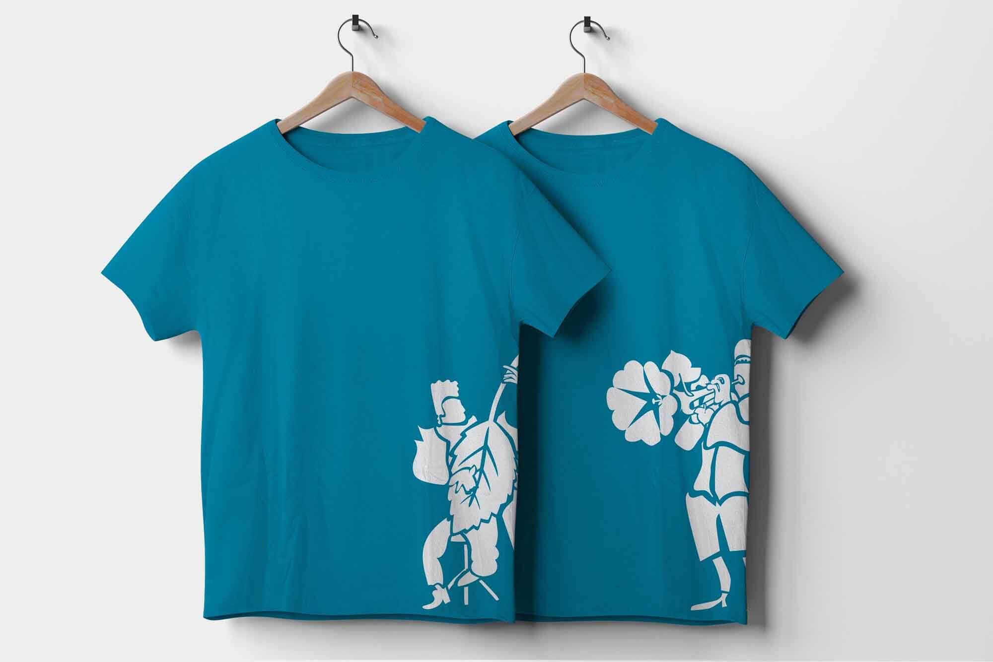 Bedrucktes T shirt für fläcke openair blau siebdruck