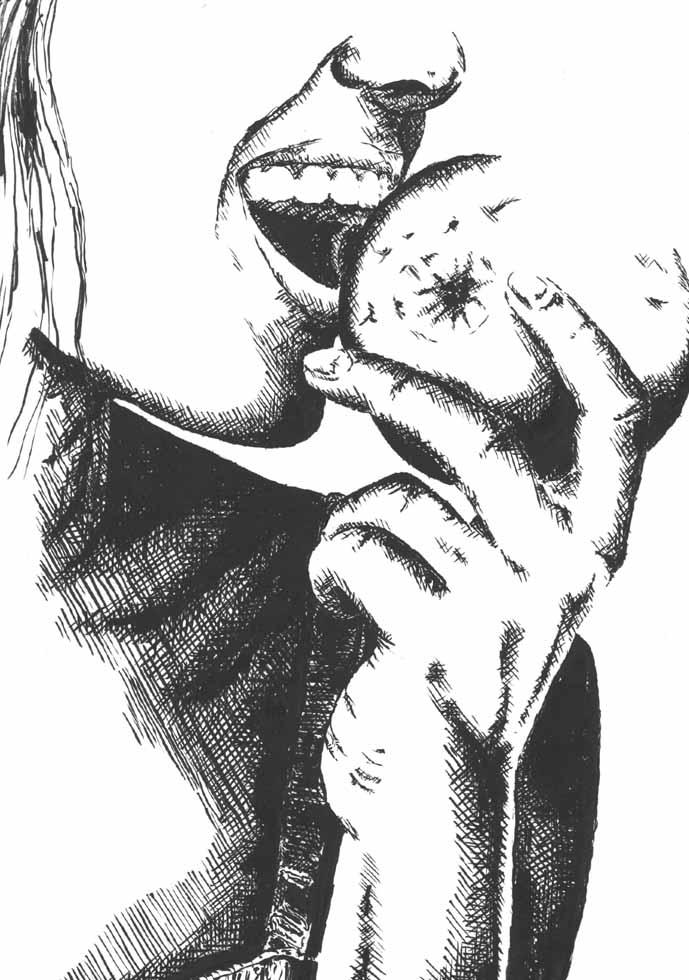 Illustration Frau beisst in den Apfel mit weissen Zähnen