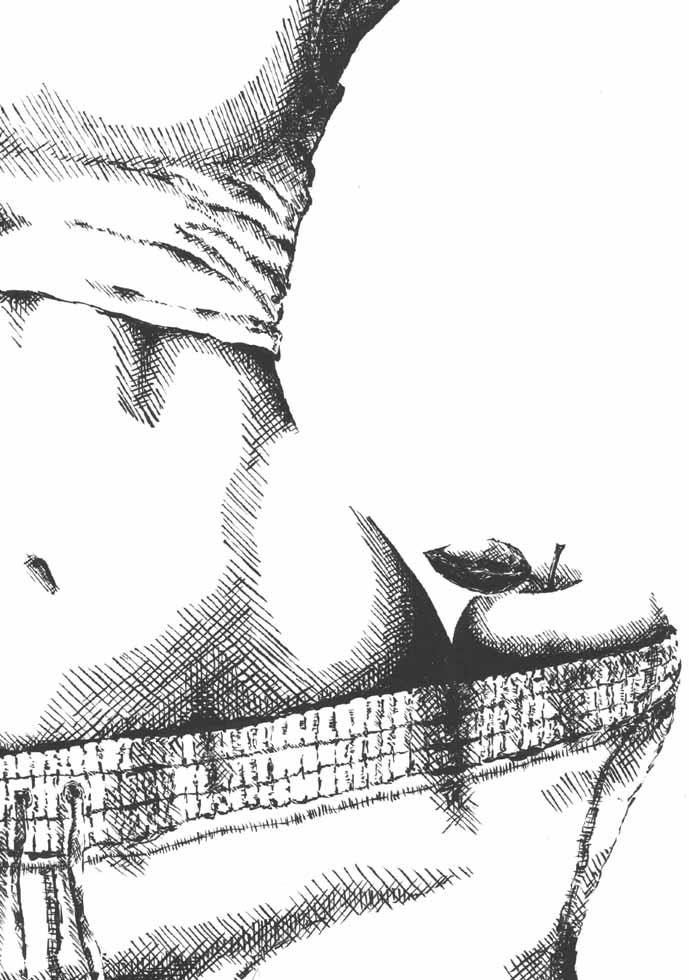 Illustration sportliche Frau hat einen Apfel bei sich