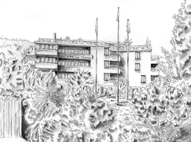 schwarz weiss Zeichnung Hotel Bad Zurzach