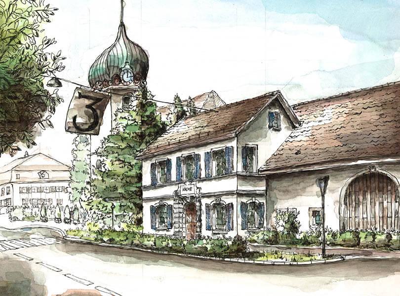 Aquarell Malerei Arche Bad Zurzach