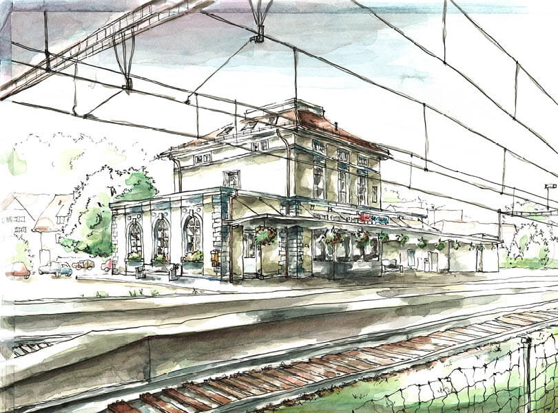 Aquarell Malerei Bahnhof Bad Zurzach