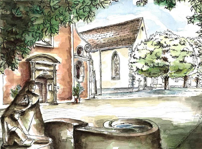 Aquarell Malerei verena Kirche Bad Zurzach