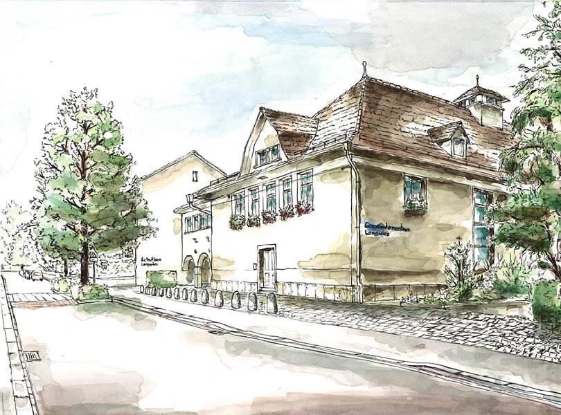 Aquarell Malerei Langwis Bad Zurzach