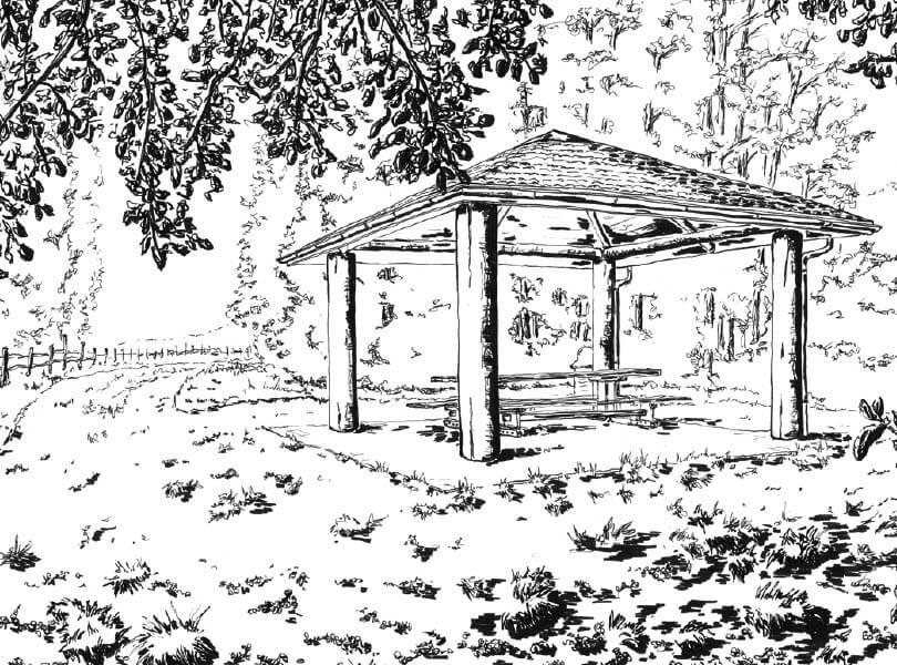 schwarz weiss zeichnung Pavillon Rappenschnabel Rietheim