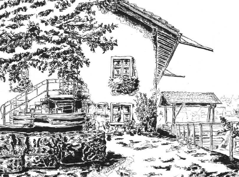 schwarz weiss zeichnung Mühle Bad Zurzach
