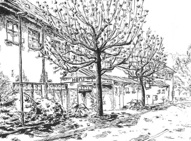 schwarz weiss zeichnung Höfli Bad Zurzach