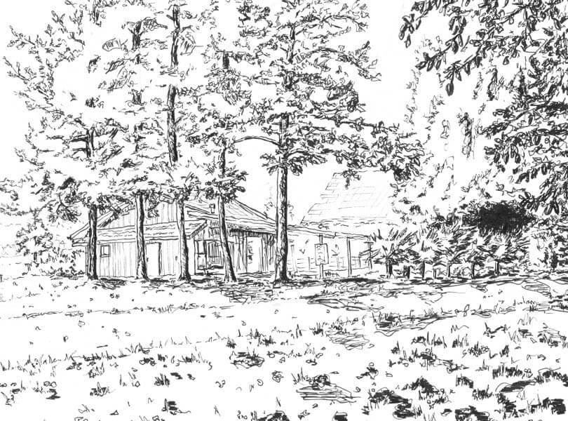 schwarz weiss zeichnung Fischerhütte Bad Zurzach