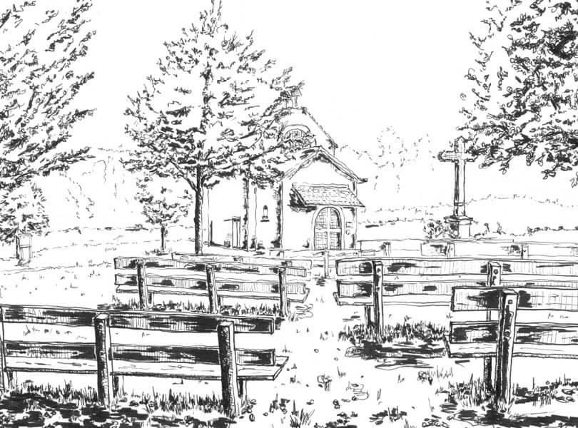 schwarz weiss zeichnung Achenberg Zurzach