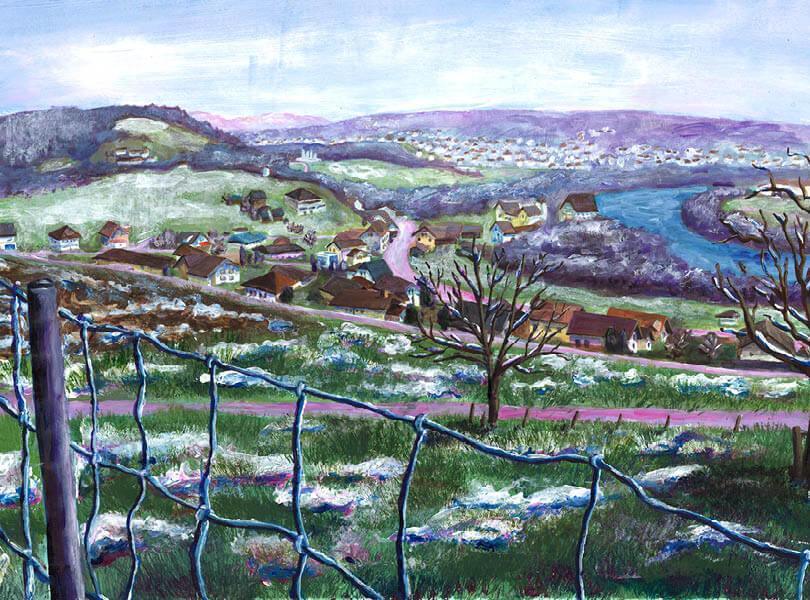Acryl Malerei panorama böttstein Zurzibiet