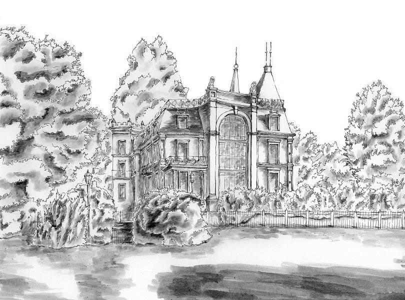 schwarz weiss zeichnung Schloss Bad Zurzach