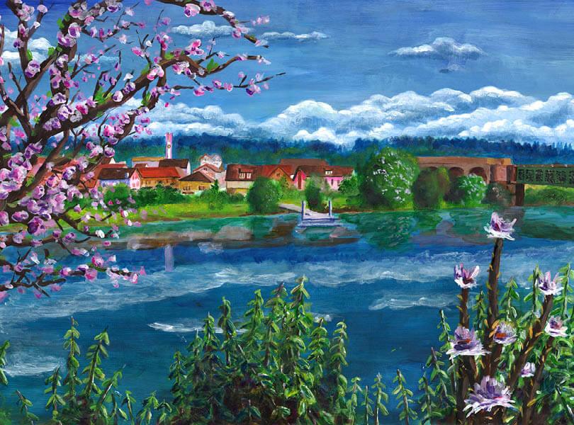 Acryl Malerei panorama koblenz Zurzibiet mit rhein