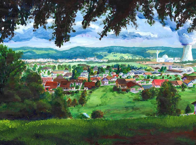 Acryl Malerei panorama leibstadt Zurzibiet mit kernkraftwerk
