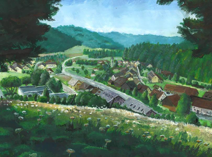 Acryl Malerei panorama tegerfelden Zurzibiet