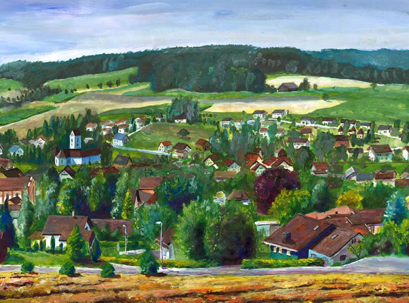 Acryl Malerei panorama lengnau Zurzibiet