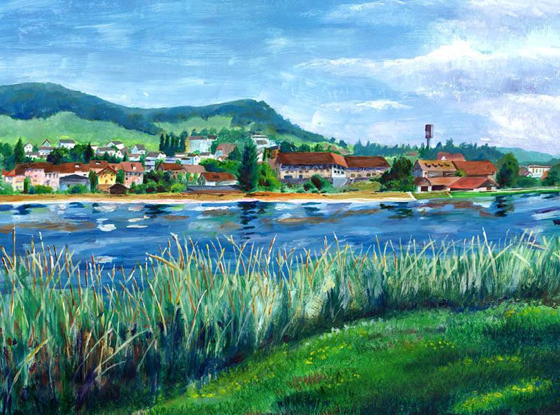 Acryl Malerei panorama döttingen Zurzibiet mit stausee