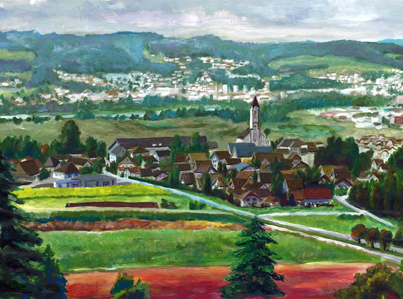 Acryl Malerei panorama leuggern Zurzibiet
