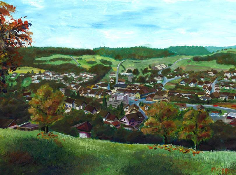 Acryl Malerei panorama endingen Zurzibiet