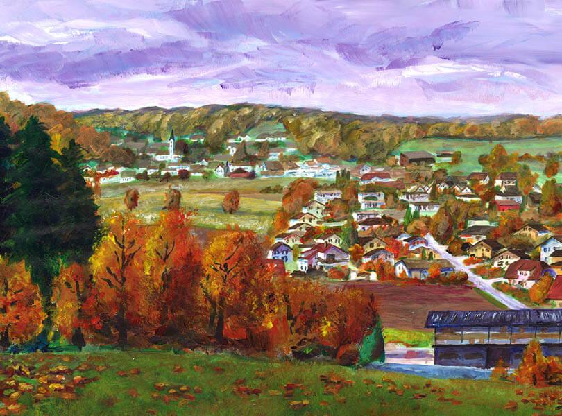 Acryl Malerei panorama schneisingen Zurzibiet