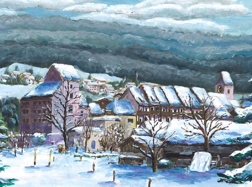Acryl Malerei panorama klingnauZurzibiet