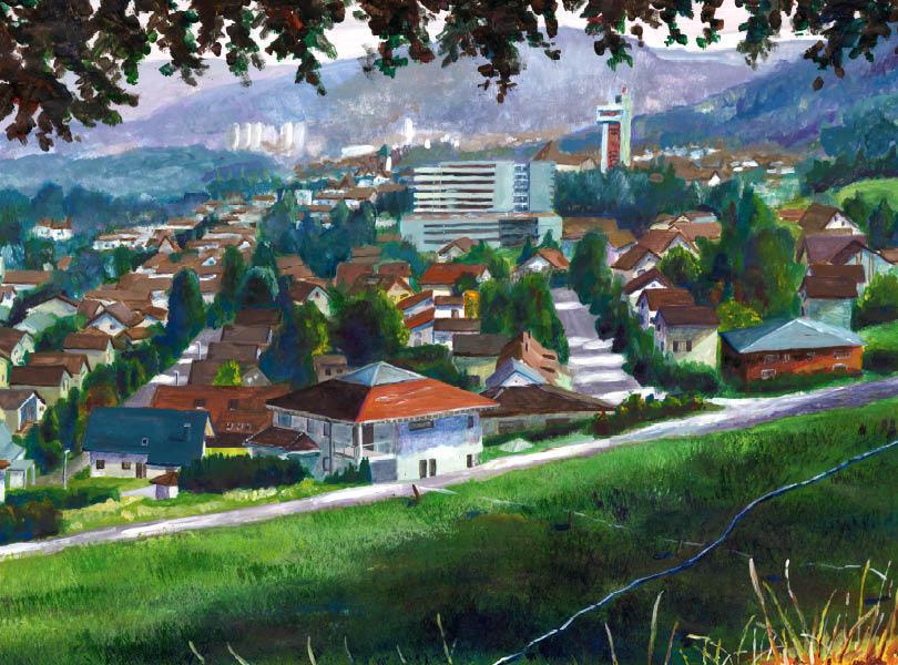 Acryl Gemälde Panorama Döttingen