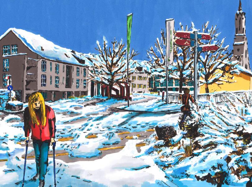 Filzstift zeichnung spital leuggern mit schnee