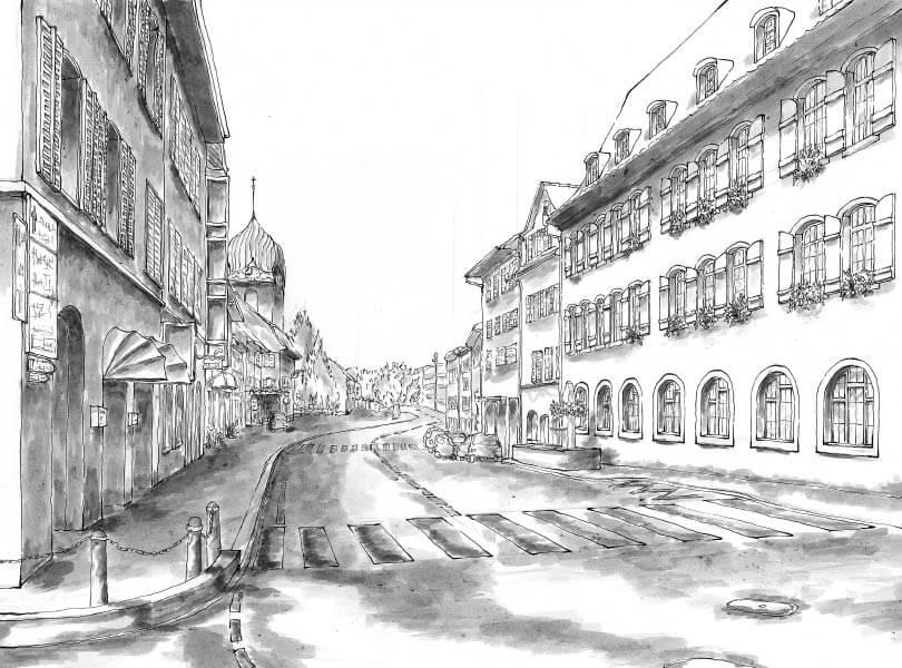 schwarz weiss zeichnung Ochsenkreuzung Bad Zurzach
