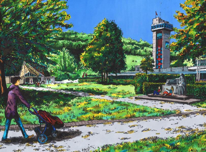 Filzstift zeichnung Zurziturm Bad Zurzach im Kurpark