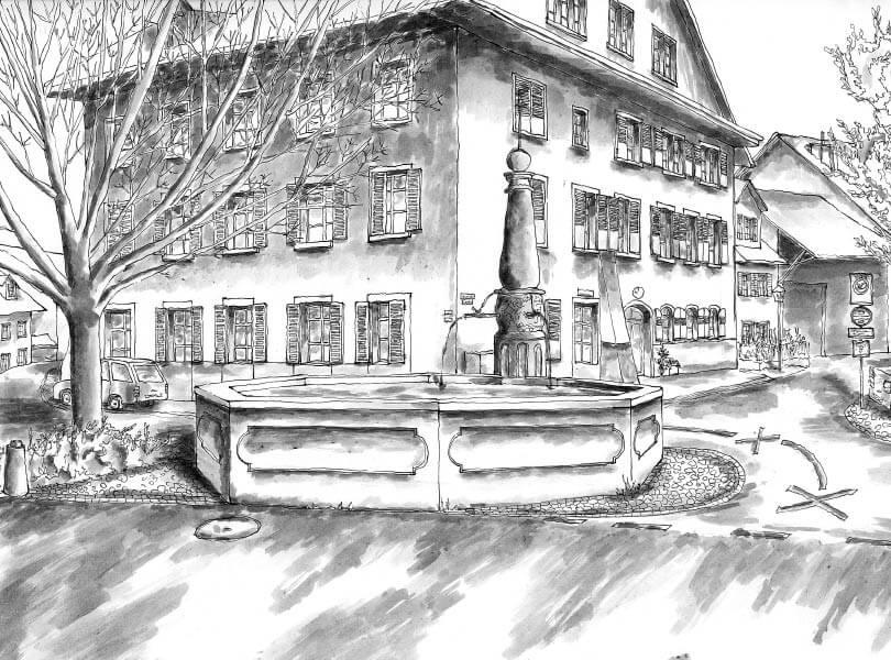 schwarz weiss zeichnung Sternenbrunnen Bad Zurzach
