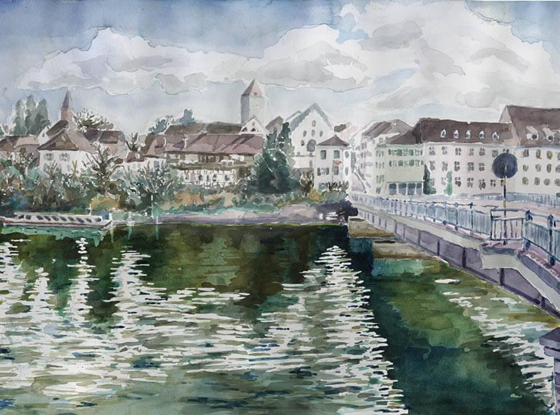 Aquarell Malerei Rheinbrücke Kaiserstuhl zurzibiet